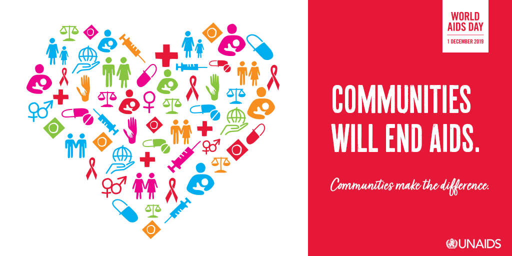 Graphic image from UNAIDS for World AIDS Day that says communities will end AIDS